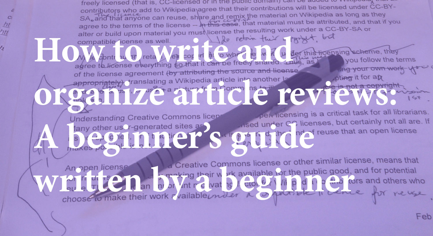 How to write and organize article reviews: a beginner's